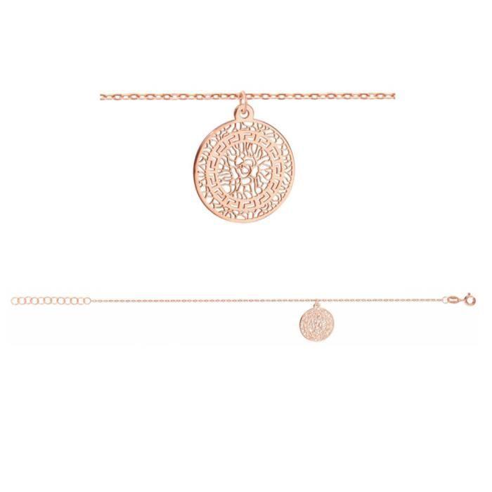Bracelet Argent 925 Dorure Rose Rondelle Motif Découpé