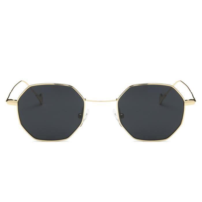 Femmes hommes mode métal irrégularités monture lunettes de soleil de marque Classic Feuille de cadre en or gris