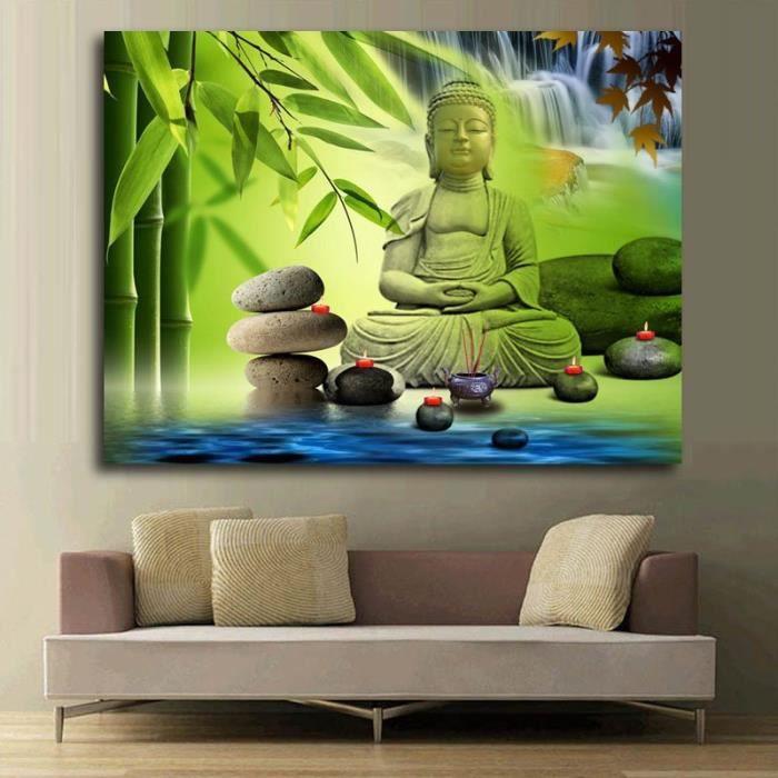 tableau panneaux mural 50 70cm zen bouddha bambou pas de