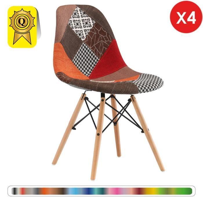 67d9fb4d7c 4 x Chaise Design Scandinave Haut: 48 Patchwork Automne pieds Bois naturel  Decopresto DP-DSWL48-PCM-4