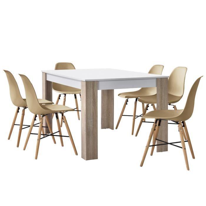 En Casa Table A Manger Chene Blanc Avec 6 Chaises Beige140x90cm
