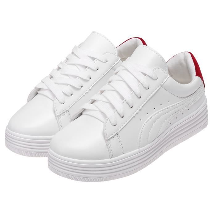baskets sneakers chaussures sport femme cuir pu blanc rouge achat vente basket cdiscount. Black Bedroom Furniture Sets. Home Design Ideas
