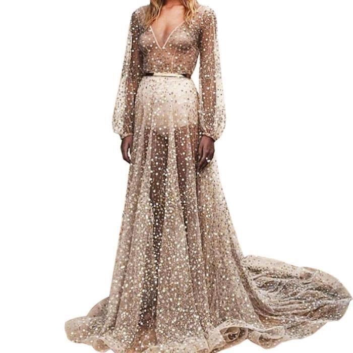 04ff3639c68 Robe De Soirée Col V Fishtail Profond Manches Longues Transparent Paillettes  Maxi Banquet Nouveau femmes Sexy Party Dress