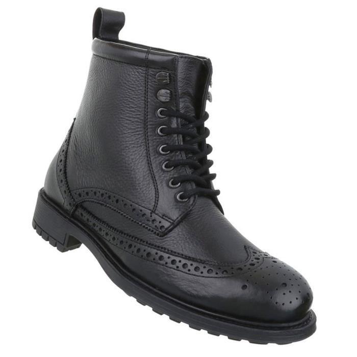 Chaussures Hommes Bottes Used optique cuir laçage noir 48