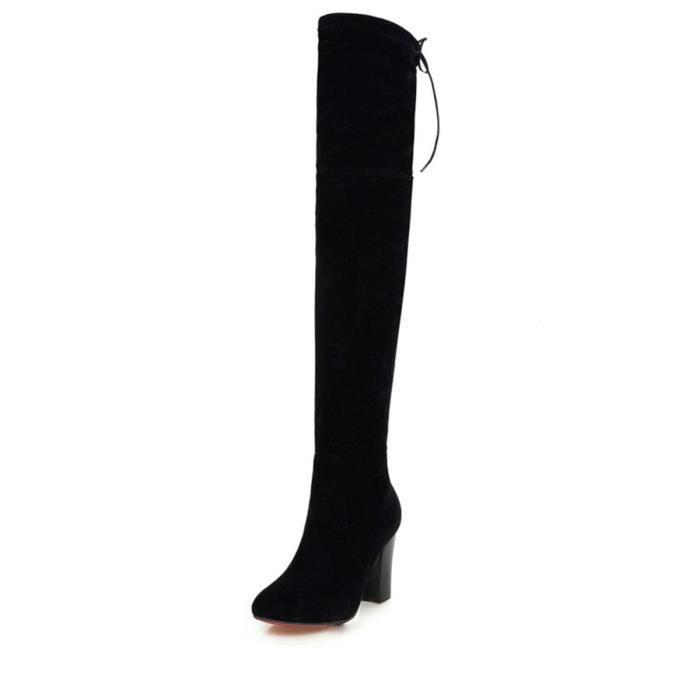 Bottes de femme talon épais bout pointu solide couleur Strappy Top Chaussures Mode 10387394