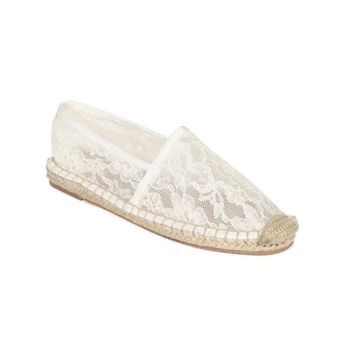 Breckelles Elsa Floral Lace Cap Toe Espadrille Monk oisif Flats chaussures S3W5F Taille-40