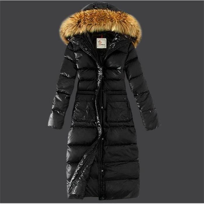 368ed1aad01 Doudoune à Capuche Ultra Légère de femme Longue Manteau en Duvet à Capuche  Hiver S-XL Noir