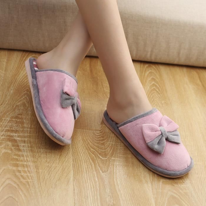 Chaudes rose Bow Chaussures Anti Femmes slip Hiver Doux Indoor Tie Pantoufles Accueil vaxxP4Rp