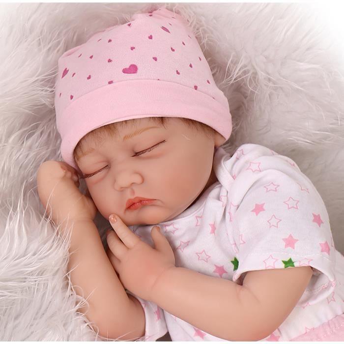 38b89824ac7e2 55 cm silicone bébés reborn poupées les yeux fermés de couchage nouveau-né  bébé réaliste meilleur bébé jouets cadeau