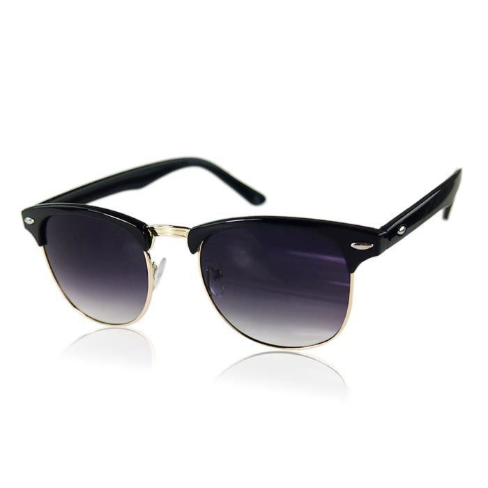 Gold Rétro noir Demi soleil de métal classique UV400 en trame contour surdimensionnées unisexe demi lunettes 6rf8S6