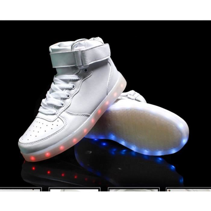 Just Great Femmes Hommes High Top recharge USB LED clignotantes Chaussures Sneakers