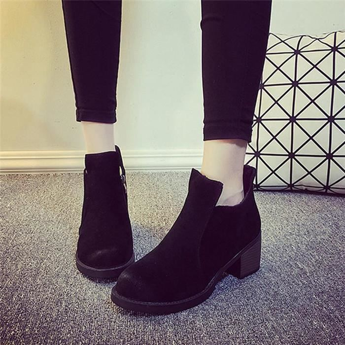 Fashion Boots femme Bottine fille Chaussures Bo...
