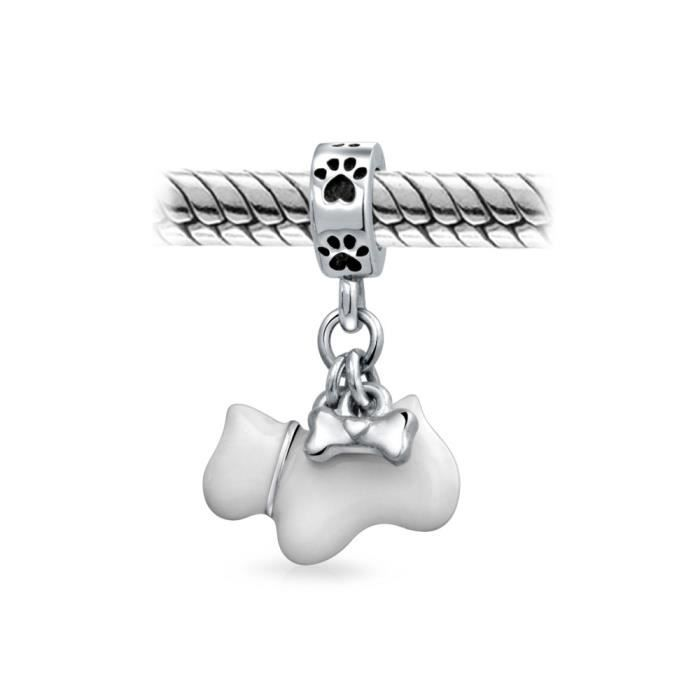 Bling Jewelry Lémail blanc argent Sterling Scottie Dog Bone Paw Print Dangle Bead Charm