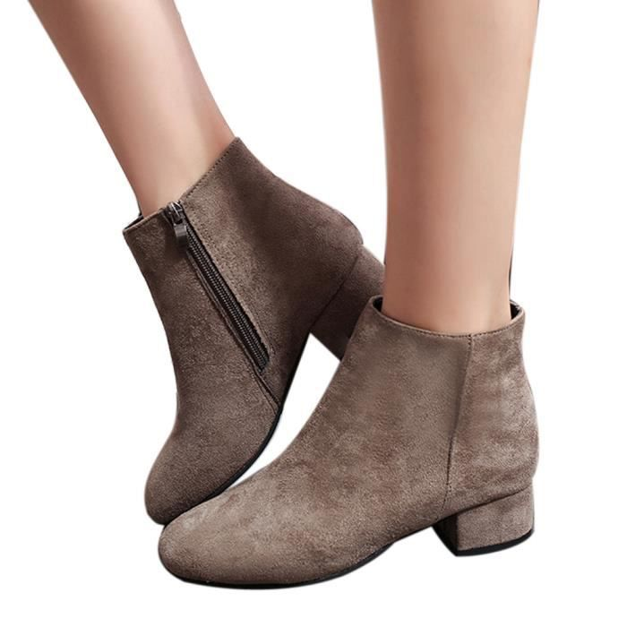 Party Round Western Boots Femmes Marron Toe Flock Fabric Ankle Ladies YwHn6Pfx