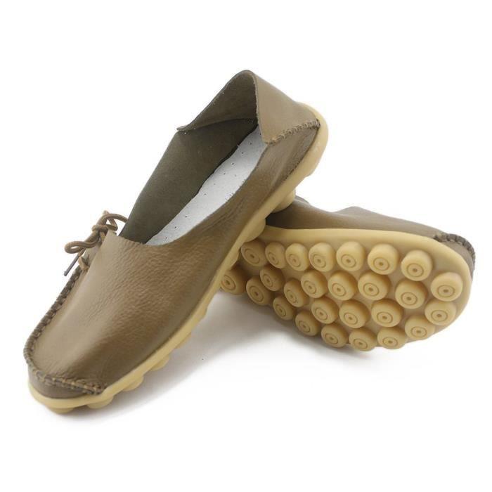 Lacets de mode en cuir Casual Driving Mocassins Mocassins Flats Slipper Chaussures bateau FUE9O Taille-41