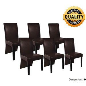 chaise lot de 6 chaises simili cuir et bois de salon s - Chaise Simili Cuir