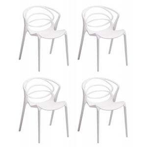 CHAISE Lot 4 chaises de designers confort blanches - GINA