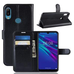 HOUSSE - ÉTUI Coque Huawei Y6 2019 Noir, - Motif Litchi PU Cuir