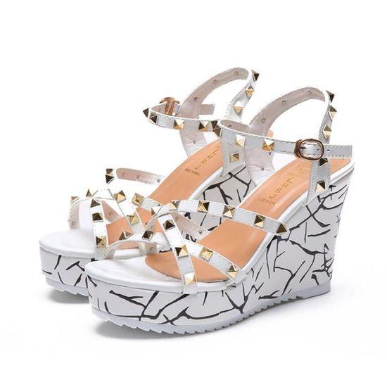 Summer Lady Fashion Wedge Escarpin Sandales élégantes Rivets Femmes Talons Chaussures  blanc Blanc Blanc - Achat / Vente escarpin