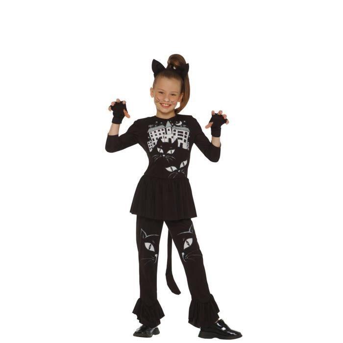 Noir imprimé chat - Mitaines, queue et serre-tête avec oreilles de chat - Fille - Livré à l'unitéDEGUISEMENT - PANOPLIE DE DEGUISEMENT