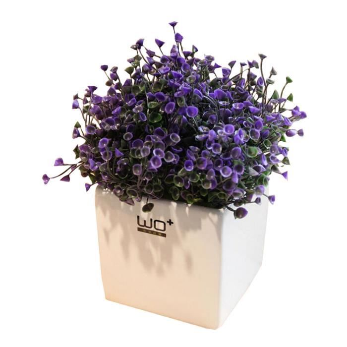 plantes artificielles violettes avec pot blanc pour. Black Bedroom Furniture Sets. Home Design Ideas