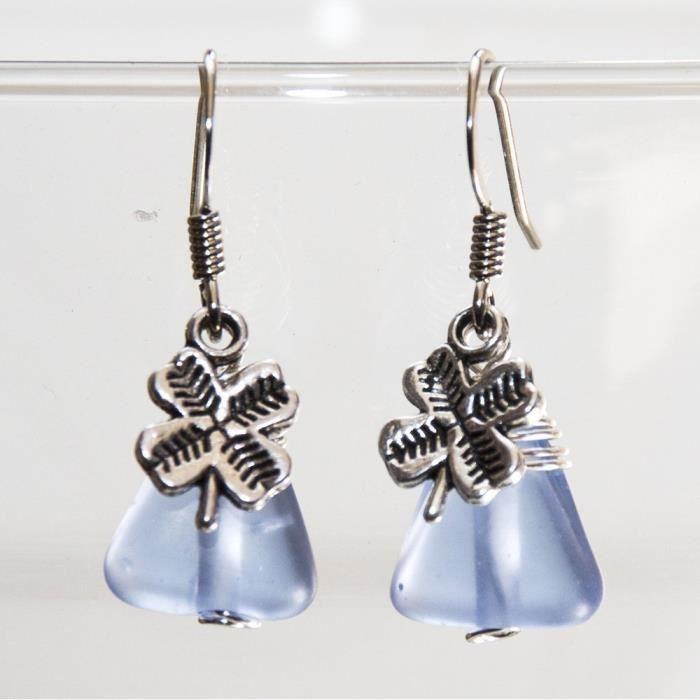Craze Bleu pastel verre Clover Boucles doreilles - Handmade fil Bijoux Enveloppé