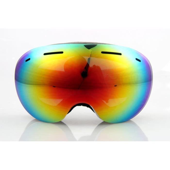 4c42d8ea42f43 Masque Lunettes de Ski -Snowboard- Soleil-Moto goggles Anti-UV pliant  Adulte Arc-en-ciel