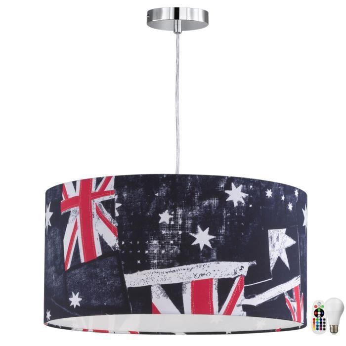 luminaire suspendu union jack lampe de salon couloir rouge t l commande avec ampoules led rgb. Black Bedroom Furniture Sets. Home Design Ideas