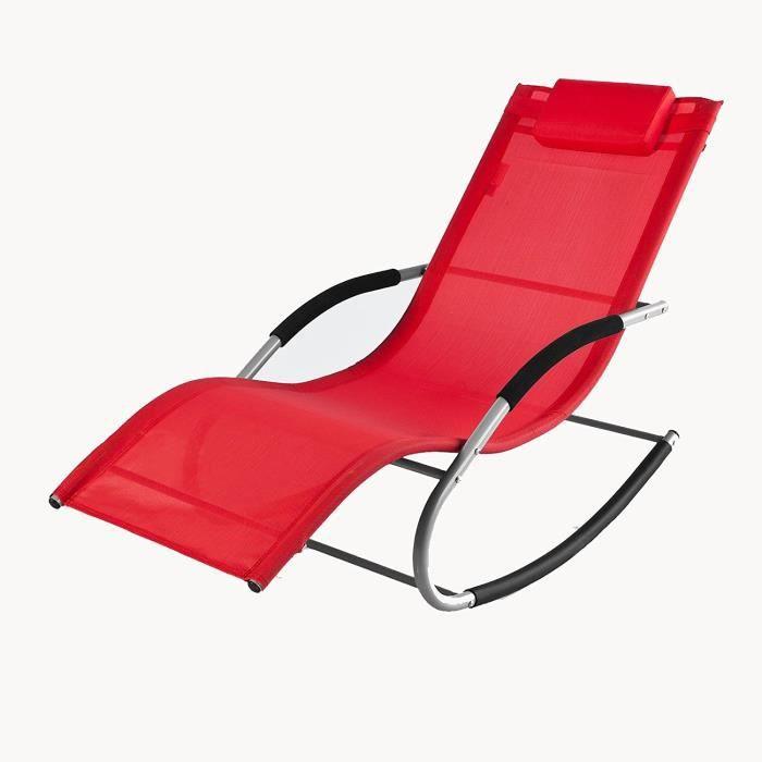Transat a bascule rocking chair rouge jardin - Achat / Vente chaise ...