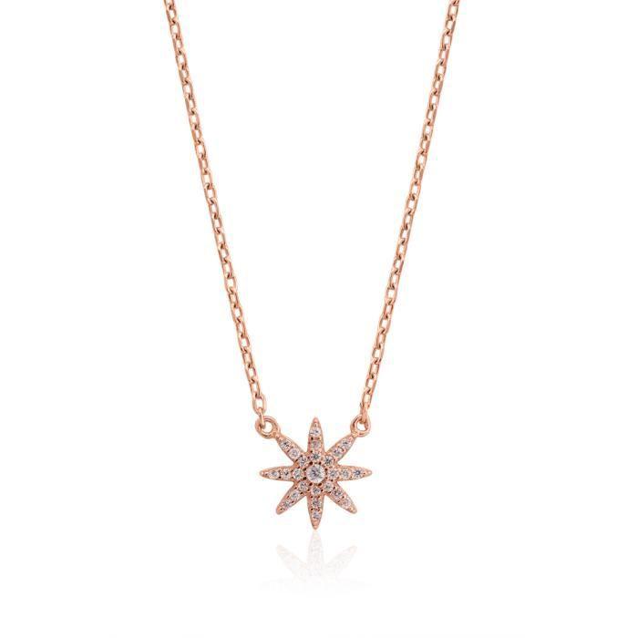 Sublime pendentif avec chaine et motif Etoilé, rhodié Rose et serti doxyde de zirconium blanc qui se rapprochent le plus du