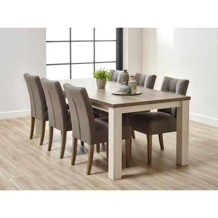 MATELPRO - Table de salle à manger contemporaine coloris chêne beige ...
