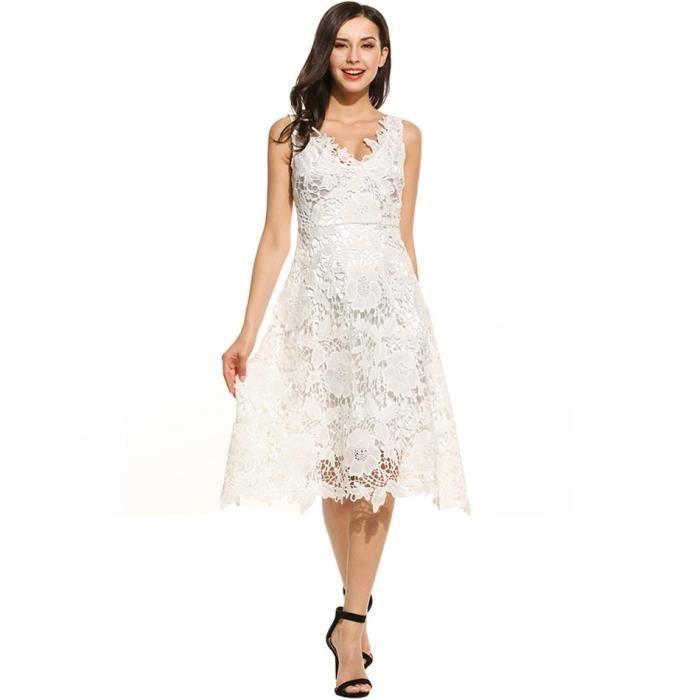 robes Femmes sans manches Floral dentelle V cou élégante demoiselle d'honneur robe