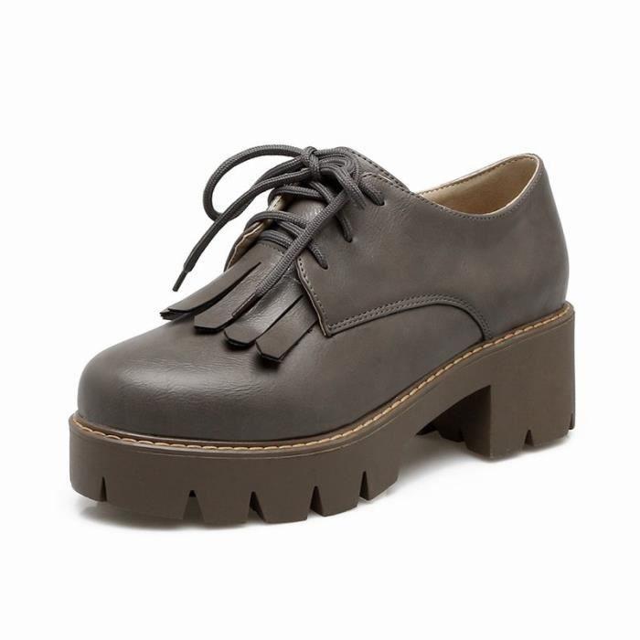 Chaussures Femme En PU Cuir Ronde Plateforme élégante Toutes les pointures de la 35 à la 43