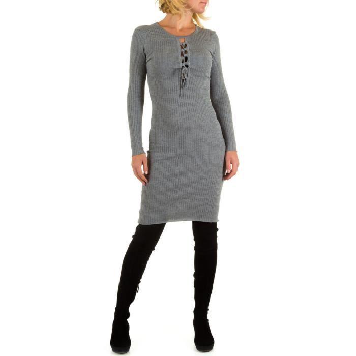 femme robe à côtes Stretch gris S-M
