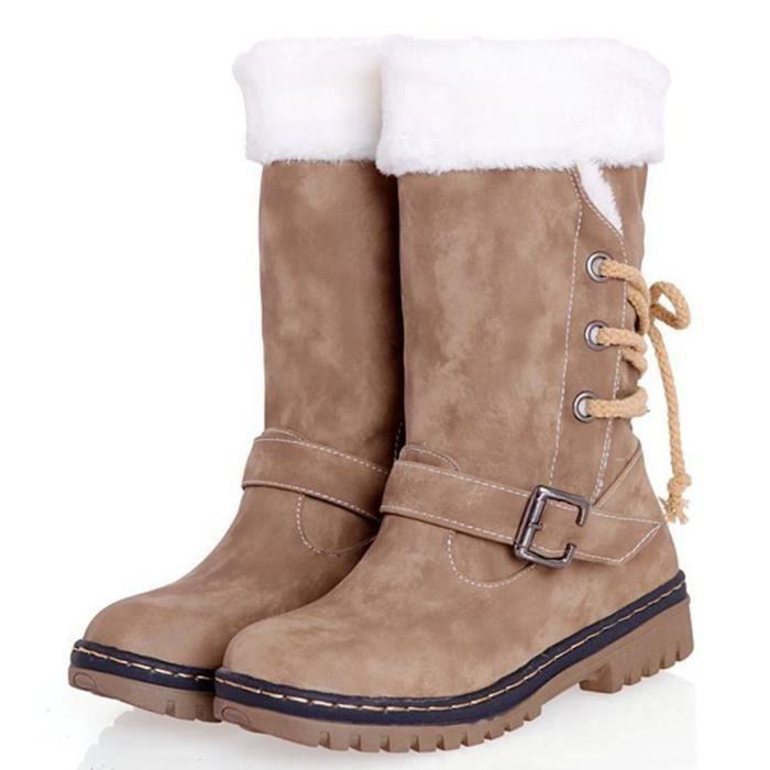 fadc06be508 GEMVIE Bottes Femme Fille Boots de Neige Fourée Plus Epais Chaud d Hiver  Antidérapage Confortable