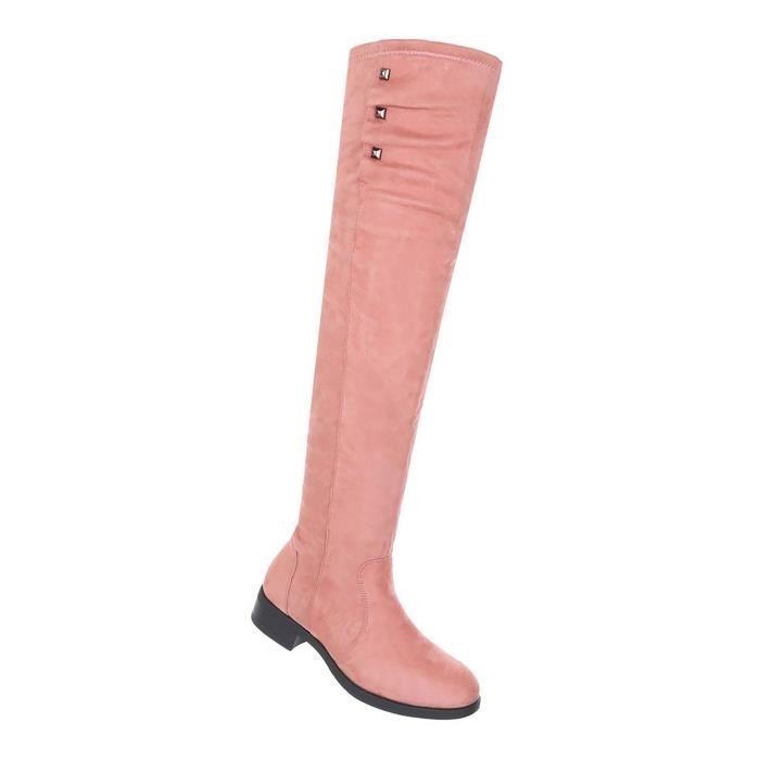 933d6406835b98 Chaussures femmes Bottes Overknee moderne rose 41 Rose Rose - Achat ...