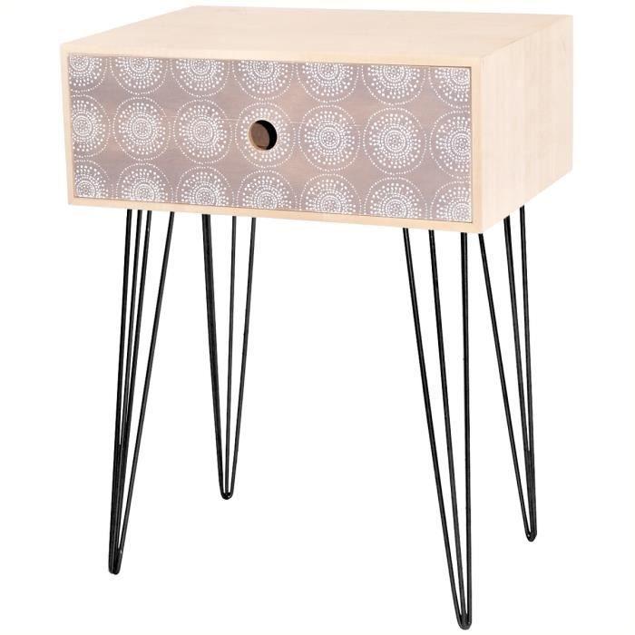 table de chevet scandinave en bois rond et point déco cosy gris