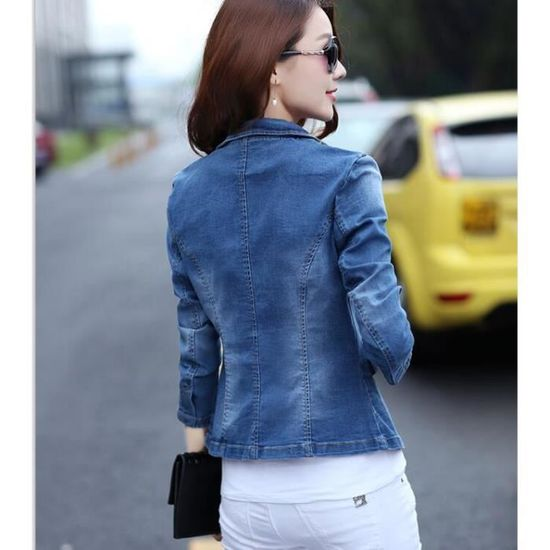 Manche En Taille Fille Veste Longue Jacket Printemps Grande Jean w0IqdEF
