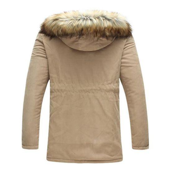En Fourrure Hiver Imprimé Col Epaississant Manteau Homme De Fausse Mode Vêtement Capuche Masculin A qwY8FU