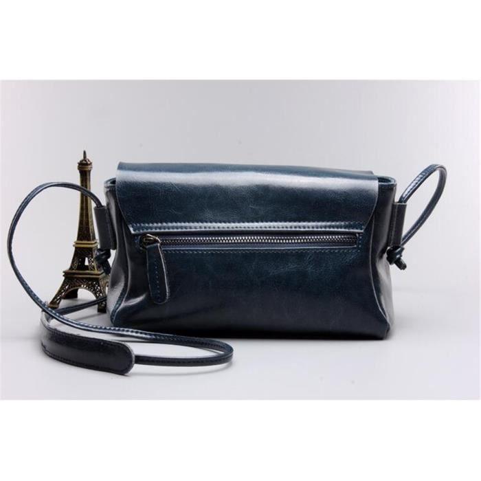 Cusselen® bleu Cuir Véritable Véritable Enveloppe Femmes Pochette Bandoulière Messenger Bag Femme Sacs à Bandoulière Sacs