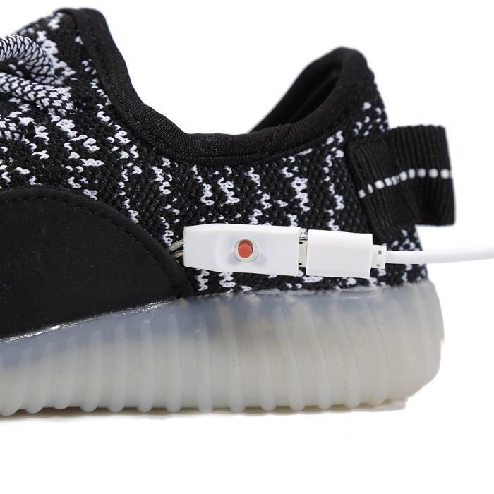35 Noir LED éclairé chaussure façon USB rechargeable noir