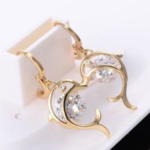 Boucle d'oreille Boucles d'Oreille Pendantes Dauphin Cristal Blanc
