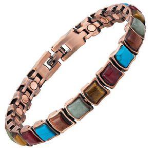 BRACELET - GOURMETTE Bracelet magnétique cuivre vintage et aimants avec
