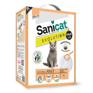 LITIÈRE SILICE - ARGILE SANICAT Litière Evolution Adult 6L - Pour chat adu
