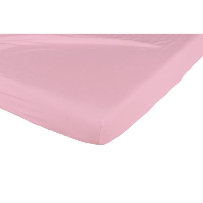 CANDIDE Drap housse coton 60x120 cm - Framboise