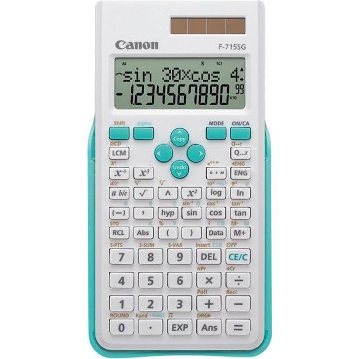 CANON Calculatrice scientifique F-715SG - 10 chiffres + 2 exposants - Panneau solaire, pile - Blanc avec bleu