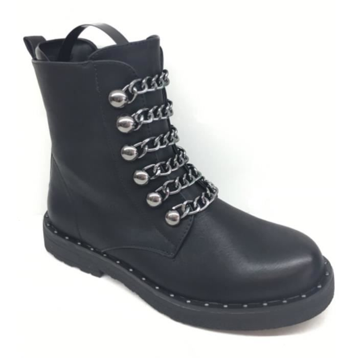 BOTTINES A CHAINES ARGENTEES