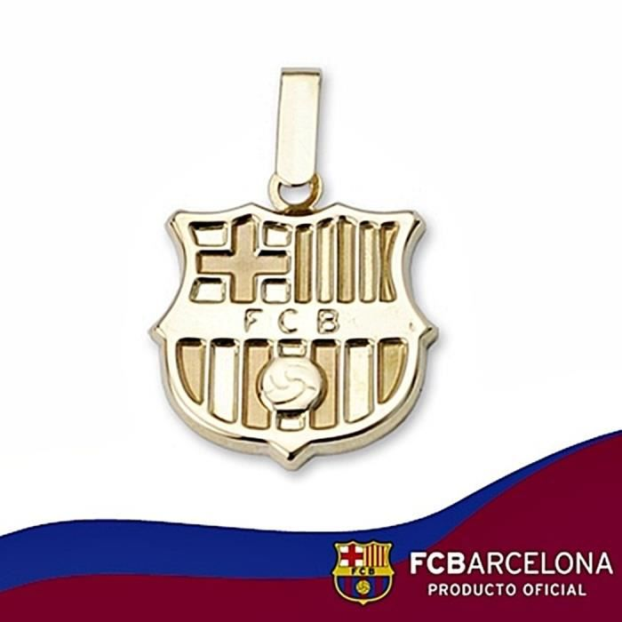Pendentif écusson F.C. Barcelona or massif 9k 16mm. jaune