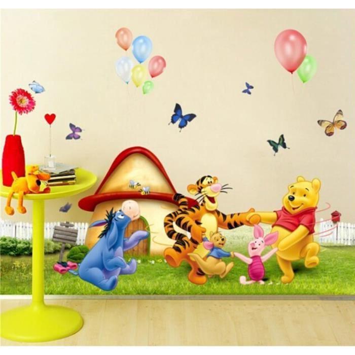 Dessins Animés Animaux Winnie l\'ourson Arbre Vinyle Stickers Muraux Pour  Enfants Chambres Garçons Filles Paroi Enfant Vignette De Dé