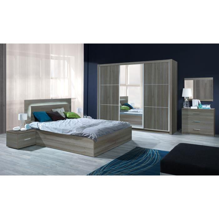 Chambre à Coucher Complète Adulte AURELIO. Lit + Armoire + Chevets +  Commode. Meuble Design En.
